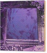 Macrophotograph Of An Intel Computer Microchip Wood Print