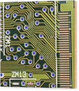 Macrophotograph Of Printed Circuit Board Wood Print by Dr Jeremy Burgess