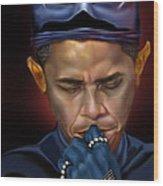 Mad Men Series 1 Of 6 - President Obama The Dark Knight Wood Print