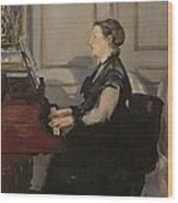 Madame Manet At The Piano Wood Print