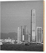 Madeira Hydrofoil Macau Ferry Speeds Towards Kowloon Skyline Hong Kong Hksar China Asia Wood Print by Joe Fox