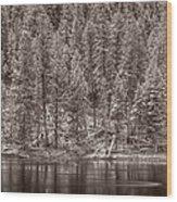 Madison River Yellowstone Bw Wood Print