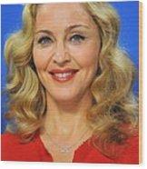 Madonna At The Press Conference Wood Print