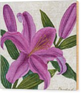 Magenta Lily Wood Print by Vikki Wicks