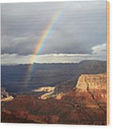 Magical Rainbow In The Grand Canyon Wood Print