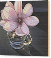 Magnolia Blossom In Glass Mug Wood Print
