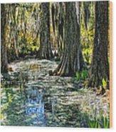 Magnolia Gardens Wood Print