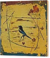 Magpie Framed In Maple Wood Print by Carolyn Doe