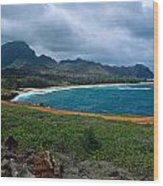 Maha'ulepu Beach Wood Print by Kathy Yates
