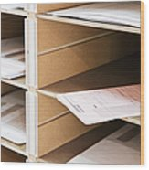 Mail In Office Mailboxes Wood Print by Jetta Productions, Inc