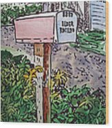 Mailbox Sketchbook Project Down My Street Wood Print by Irina Sztukowski