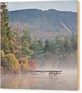maine 26 Baxter State Park Mt. Khatadin Morning Mist on Daicey Pond Wood Print