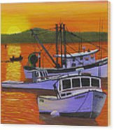 Maine Fishing Boats At Sunset Port Clyde Painting Wood Print
