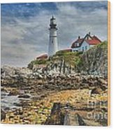 Maine Head Light Wood Print