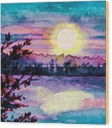Maine October Sunset Wood Print