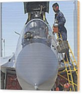 Maintainers Prepare A Sukhoi Su-30 Wood Print