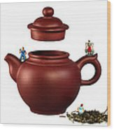 Making Green Tea On A Clay Teapot Wood Print by Paul Ge