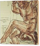 Male Nude Figure Drawing Sketch With Power Dynamics Struggle Angst Fear And Trepidation In Charcoal Wood Print