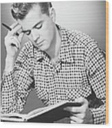 Male Student Reading, (b&w), Wood Print by George Marks