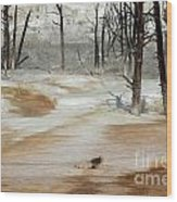 Mammoth Terrace Runoff Wood Print