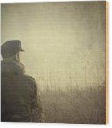 Man Alone In Autumn Field Wood Print