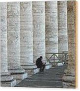 Man And Columns Wood Print