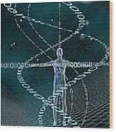 Man And Cyberspace Wood Print by Carol and Mike Werner