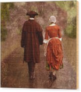 Man And Woman In 18th Century Clothing Walking Wood Print