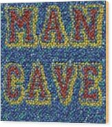 Man Cave Bottle Cap Mosaic Wood Print by Paul Van Scott