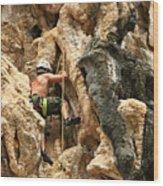 Man Climbing Rock Wood Print by Ulrike Maier