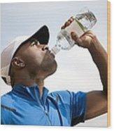 Man Drinking Bottled Water Wood Print