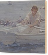 Man In A Rowing Boat Wood Print
