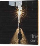 Man In Backlight Wood Print