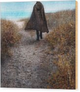 Man In Cape And Top Hat By The Sea Wood Print