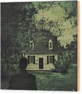 Man In Front Of Cottage Wood Print