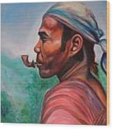 Man In The Hills Of Chiang Rai Wood Print