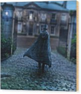 Man In Top Hat And Cape On Cobblestone Street Wood Print
