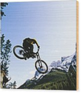 Man Jumping On His Mountain Bike Wood Print