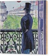 Man On A Balcony On Boulevard Haussmann Wood Print