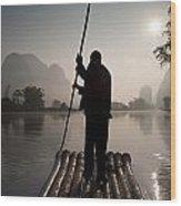 Man On Raft In Mountain Area Yulong Wood Print