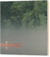 Man Paddling Canoe In Mist, Roanoke Wood Print