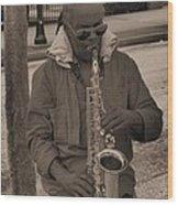 Man Playing His Saxophone Wood Print
