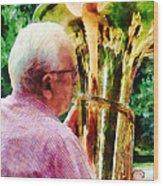 Man Playing Tuba Wood Print