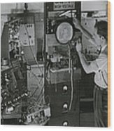 Man Testing Early Television Equipment Wood Print