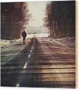 Man Walking On A Rural Winter Road Wood Print