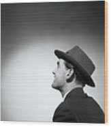 Man Wearing Hat Looking In Distance (b&w) Wood Print by Hulton Archive