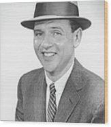 Man Wearing Hat, Posing In Studio, (b&w), Portrait Wood Print