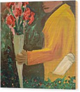Man With Flowers  Wood Print