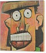Man With Terracotta Hat And Green Shirt Wood Print