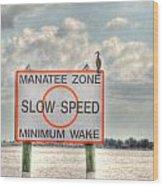 Manatee Zone Wood Print